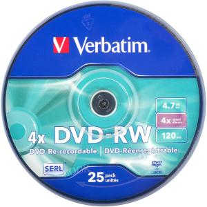 Купить «Диски DVD-RW VERBATIM 4,7  Gb 4  x Cake 25 штук Silver» в магазине color-it»