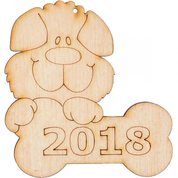 """Украшение-игрушка елочная """"Собачка №7 с косточкой 2018 ..."""