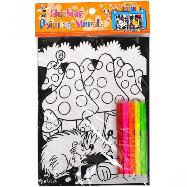 Набор-раскраска флокер А4 с фломастерами - купить по ...